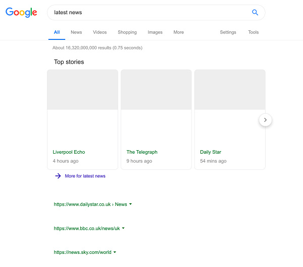 Google résultats de recherche directive