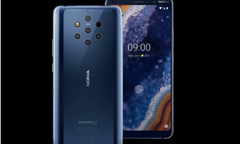 Nokia 9 PureView sur fond noir