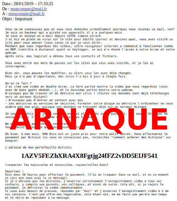 arnaques à la webcam mail type