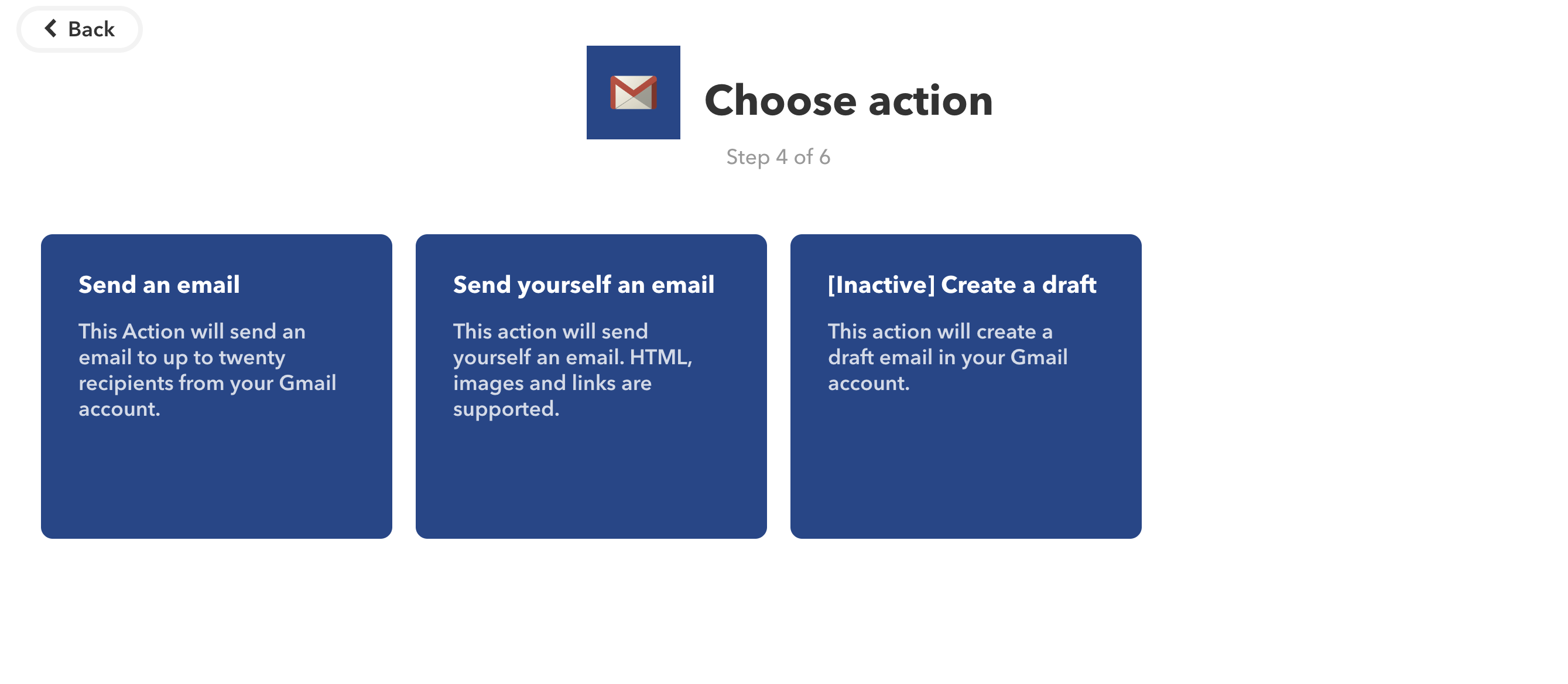 Actions IFTTT Gmail