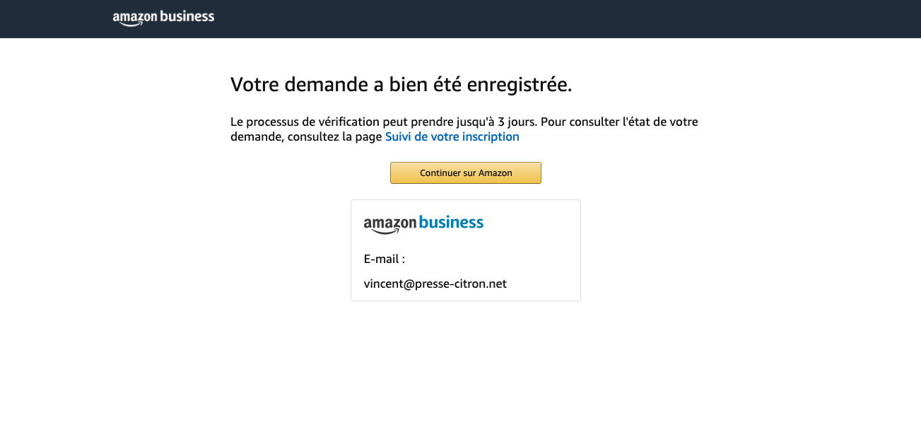 Creation Compte Amazon Business