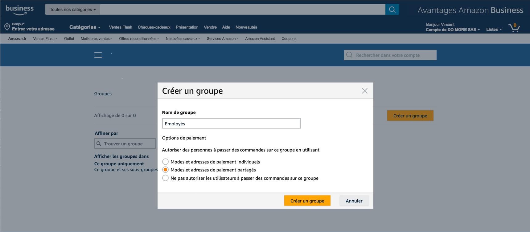 Gestion des groupes sur Amazon Business