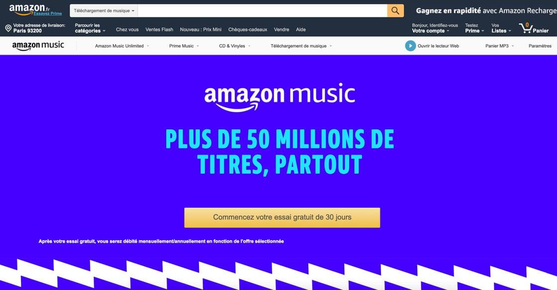 Landing page Amazon Music