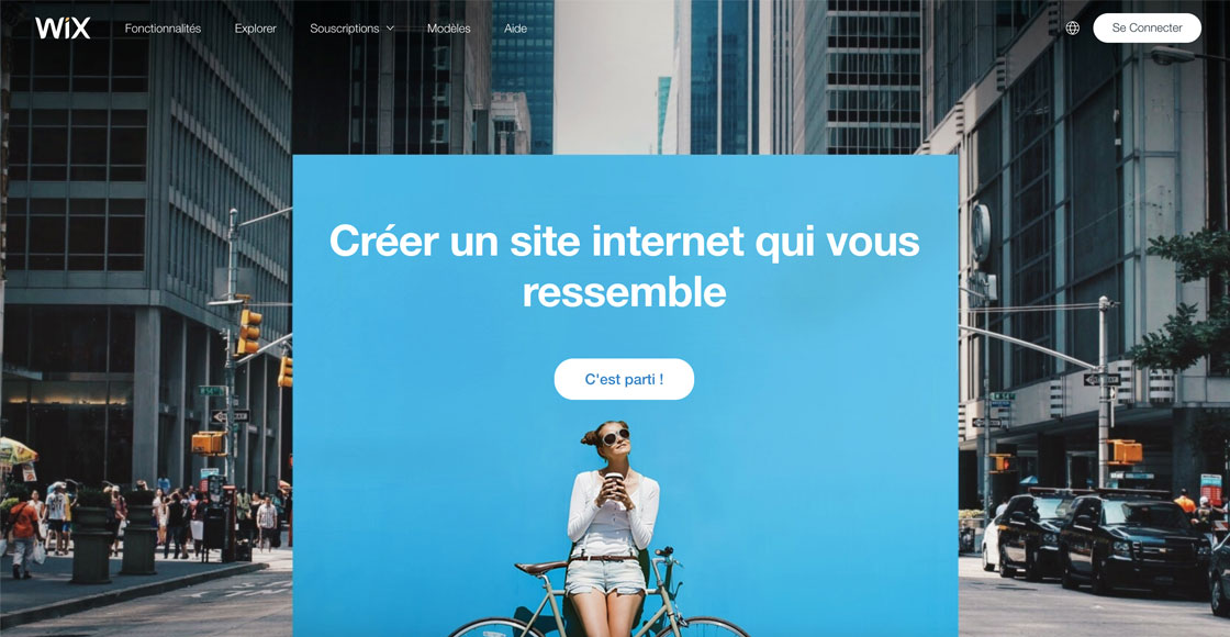 Page d'accueil de Wix