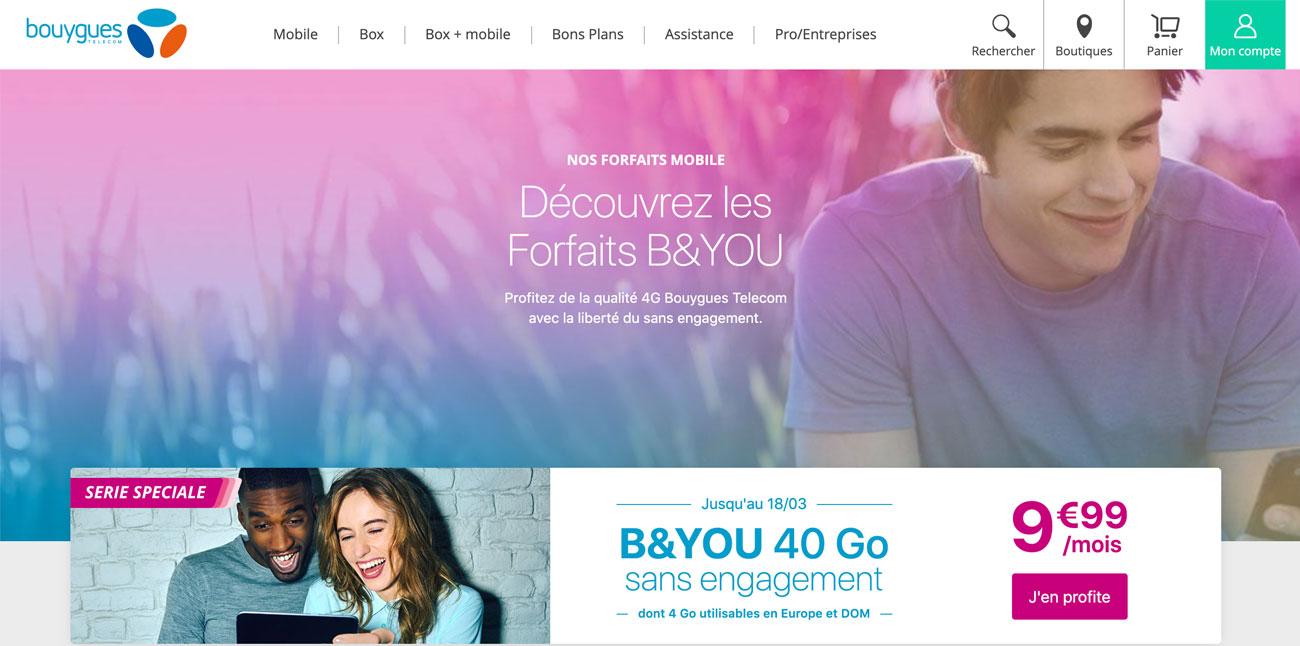 Forfait mobile B&You de Bouygues Telecom