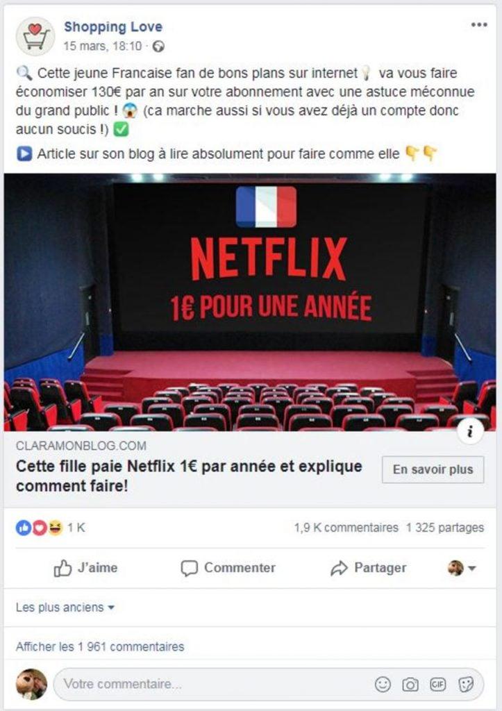 Netflix abonnement 1 euro par mois