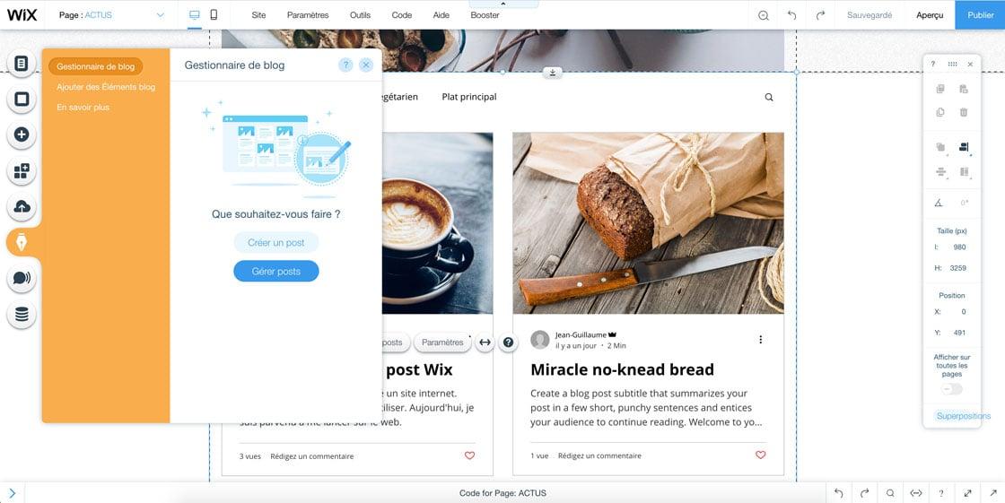 Onglet pour accéder au blog