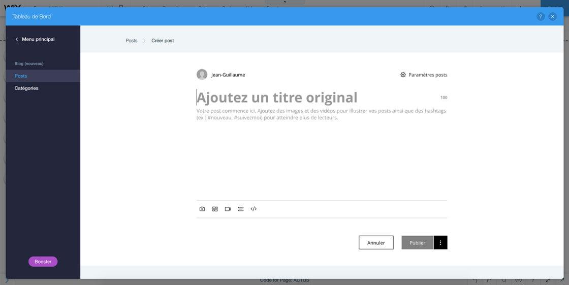 Créer un post sur Wix