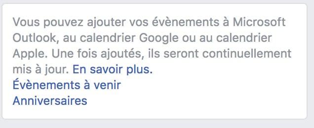 Quitter Facebook exports anniversaire