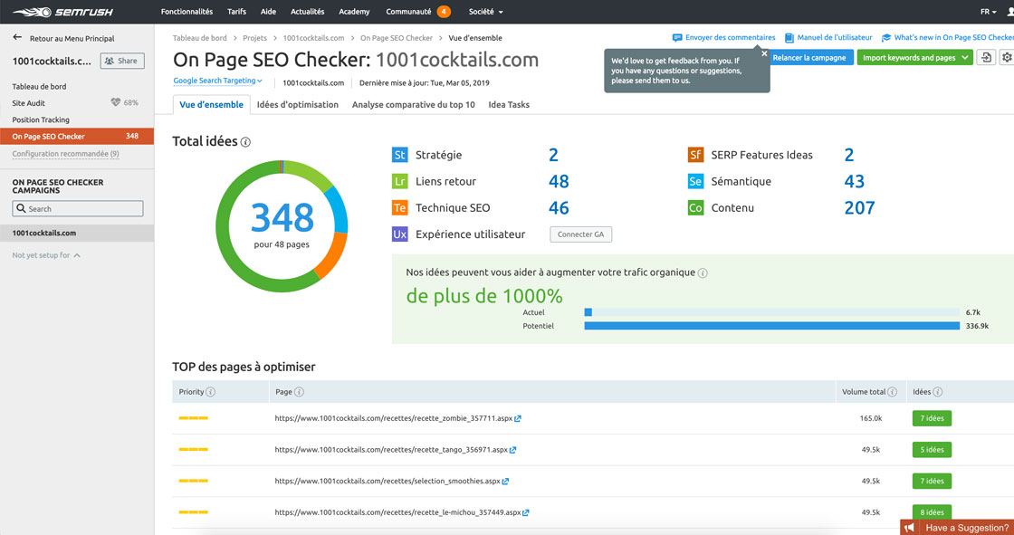 Résultats du On Page Checker SEMrush