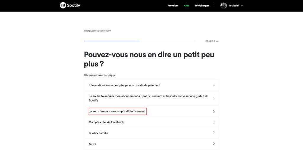 Supprimer compte Spotify fermeture