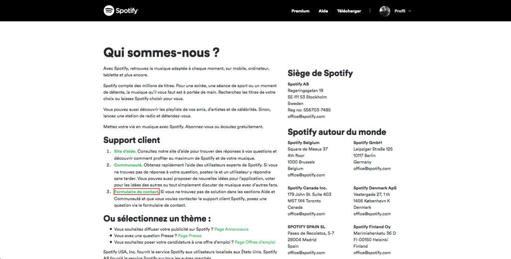 Supprimer compte Spotify formulaire de contact