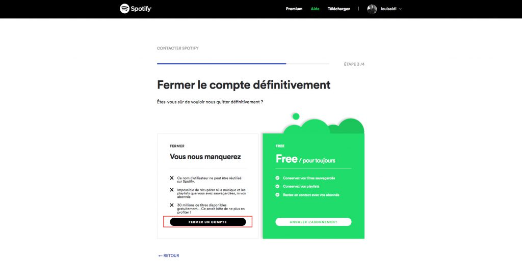 Supprimer compte Spotify validation