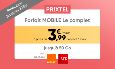 Promotion sur le forfait mobile Le Complet de Prixtel