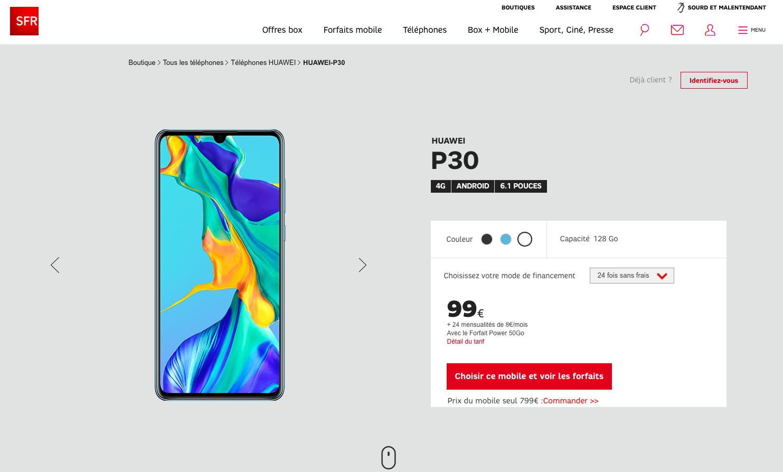 Huawei P30 SFR