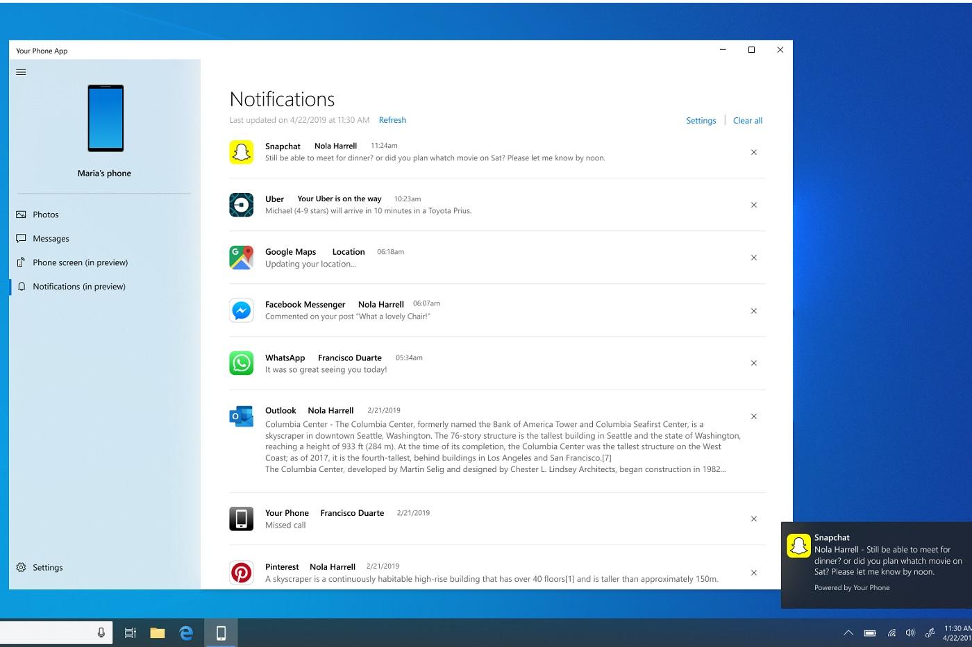 Les notifications sur Windows 10