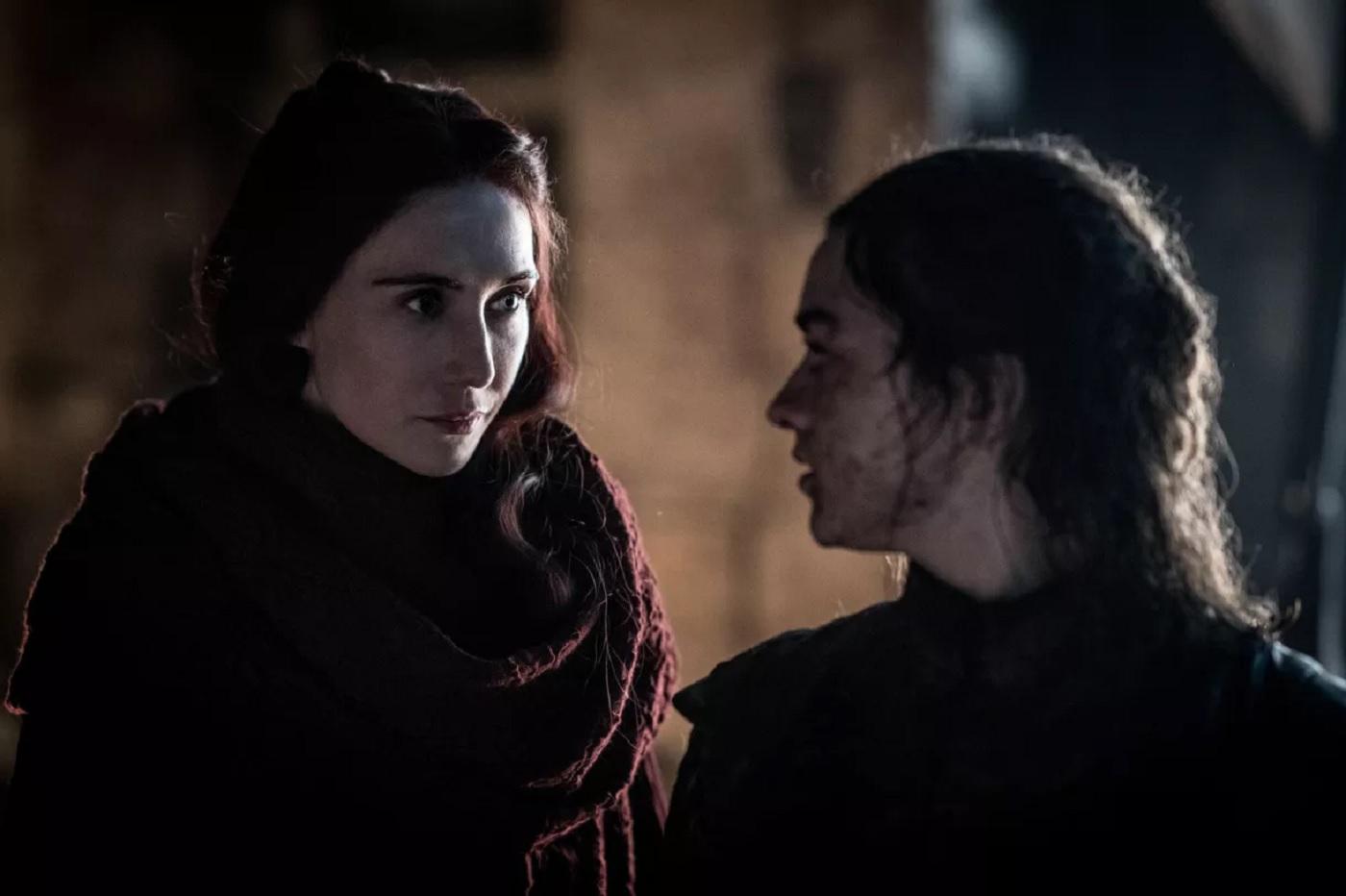 Melissandre et Arya dans Game of Thrones