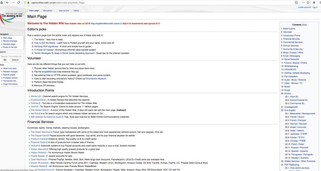 Dark web Tor browser Hidden Wiki