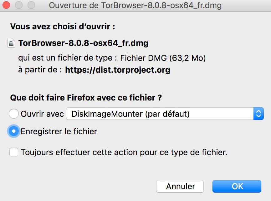 Dark web Tor Project téléchargement fichier