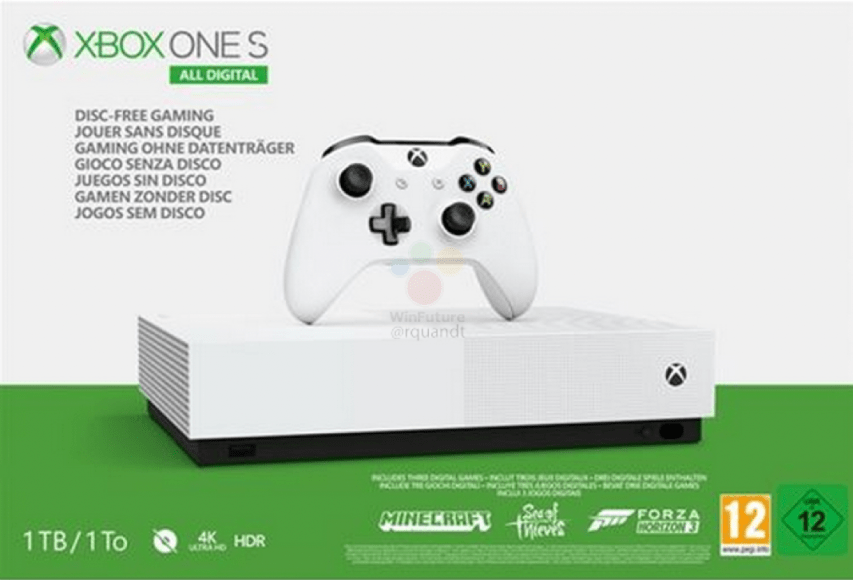 Leak Xbox One S All Digital