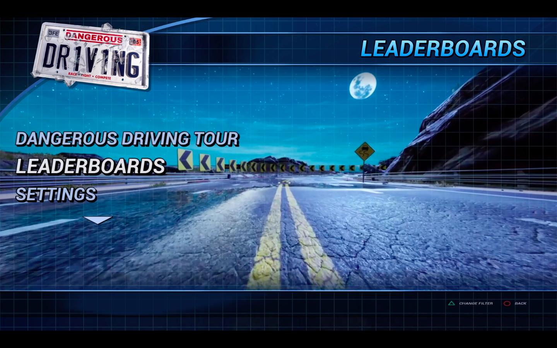 Menu Dangerous Driving