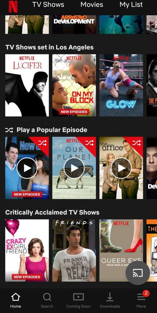 Netflix test hasard home