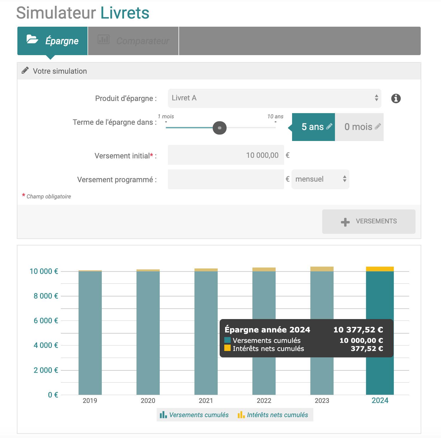 Simulateur de livret d'épargne chez BforBank