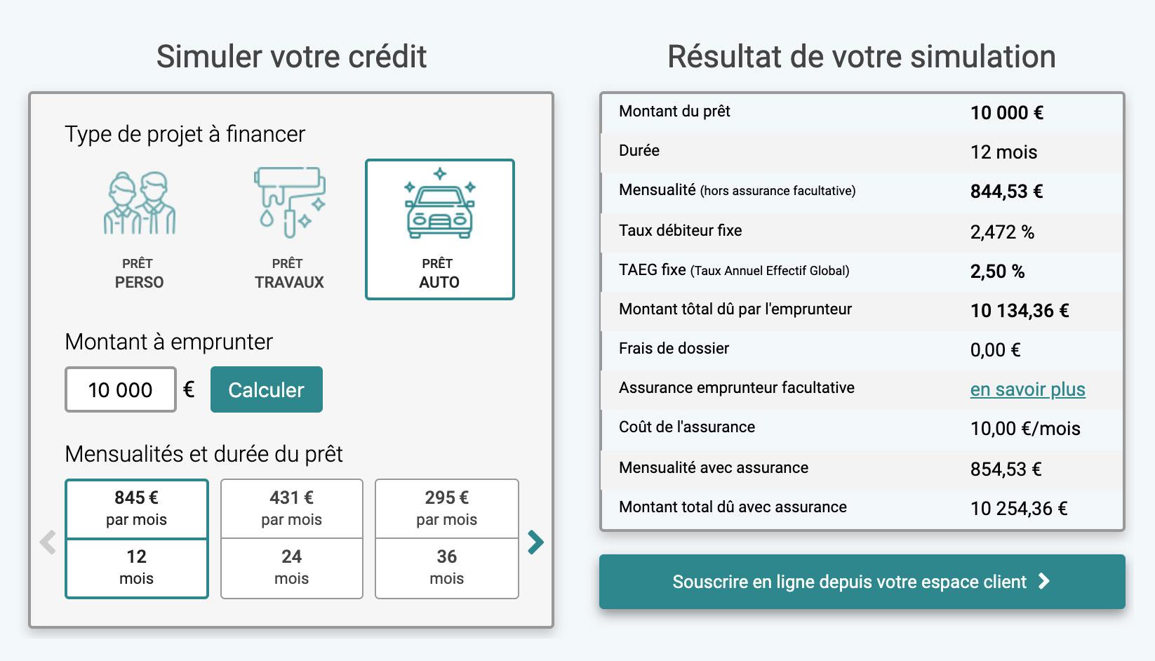 Simulateur de crédit à la consommation