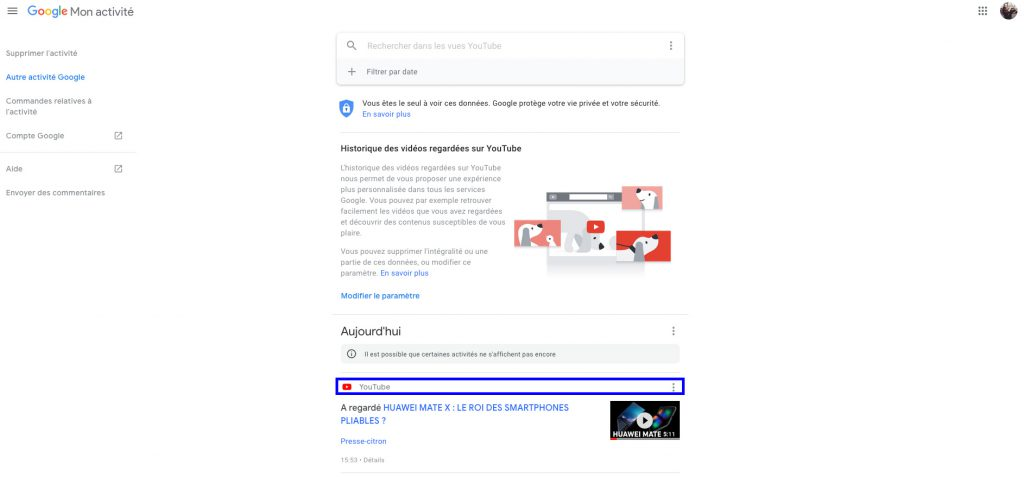 Supprimer son historique YouTube desktop détails option