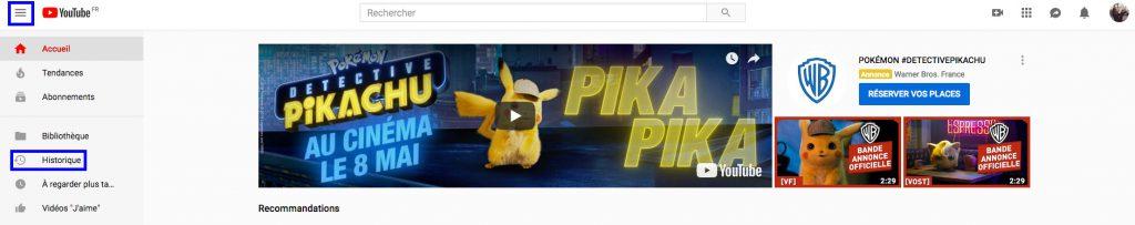 Supprimer son historique YouTube desktop détails menu