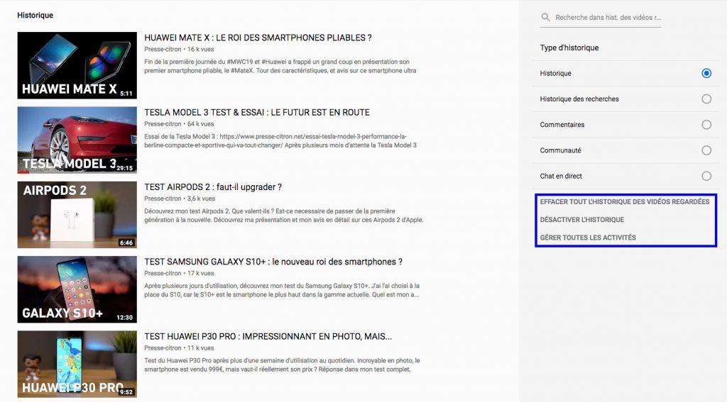 Supprimer son historique YouTube desktop menu