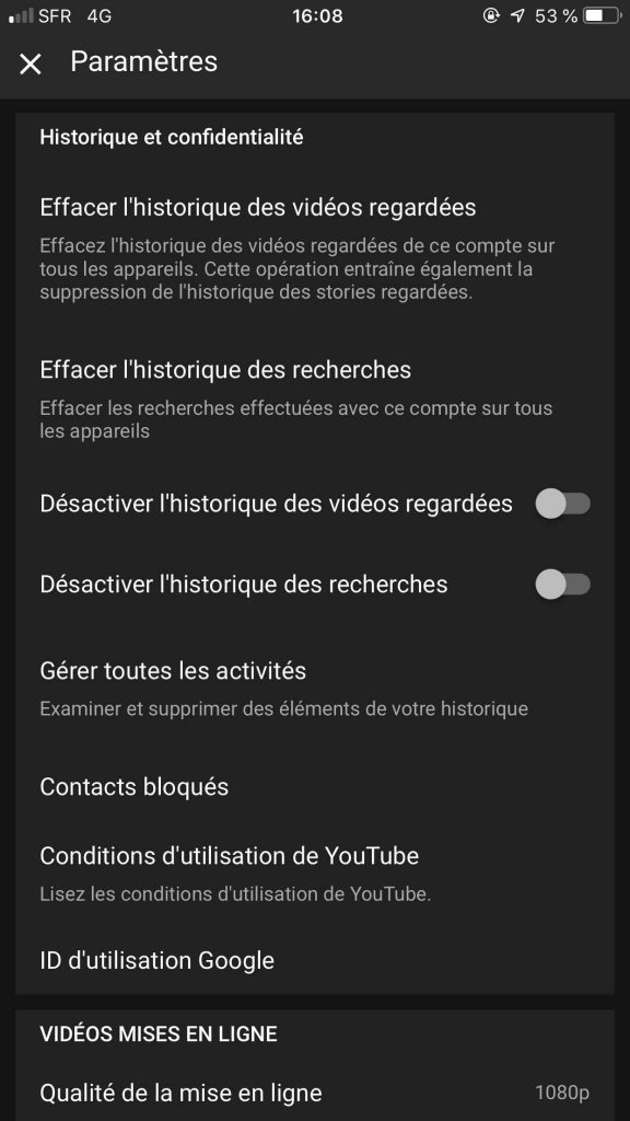 Supprimer son historique YouTube mobile options suppression