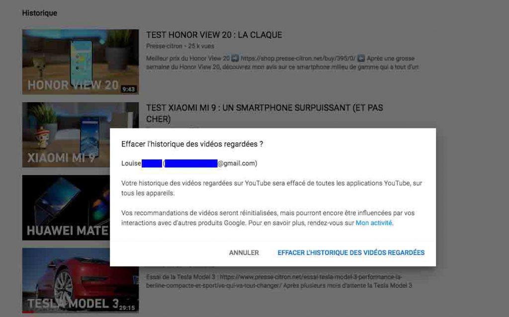 Supprimer son historique YouTube desktop totalité