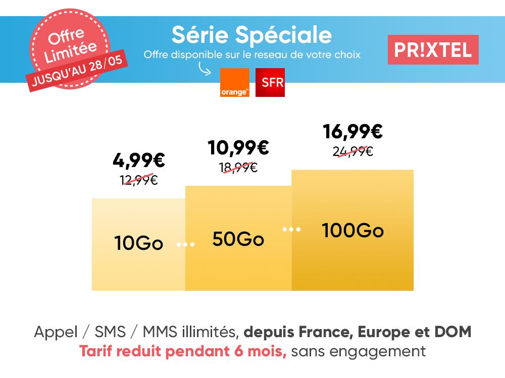 Forfait mobile Série spéciale Prixtel 28 mai - paliers de data
