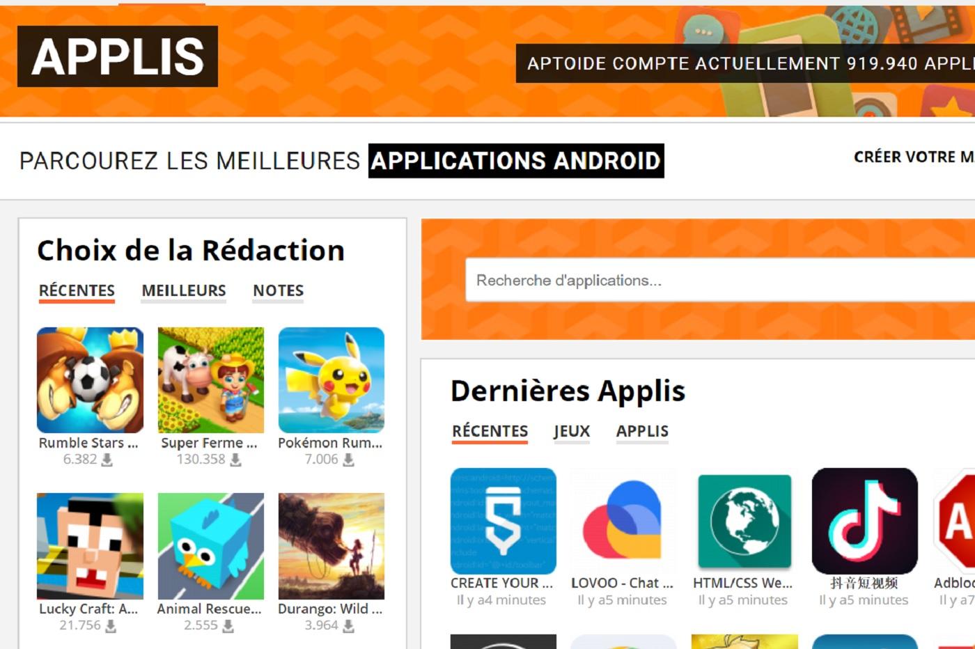 Capture d'écran sur Aptoide