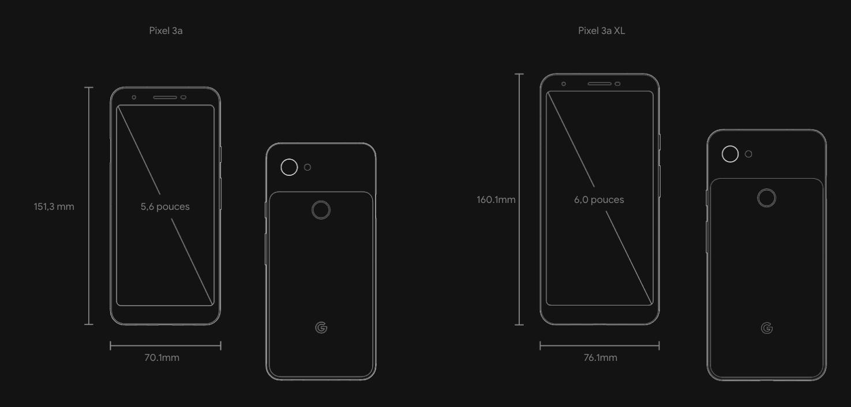 Dimensions Pixel 3a
