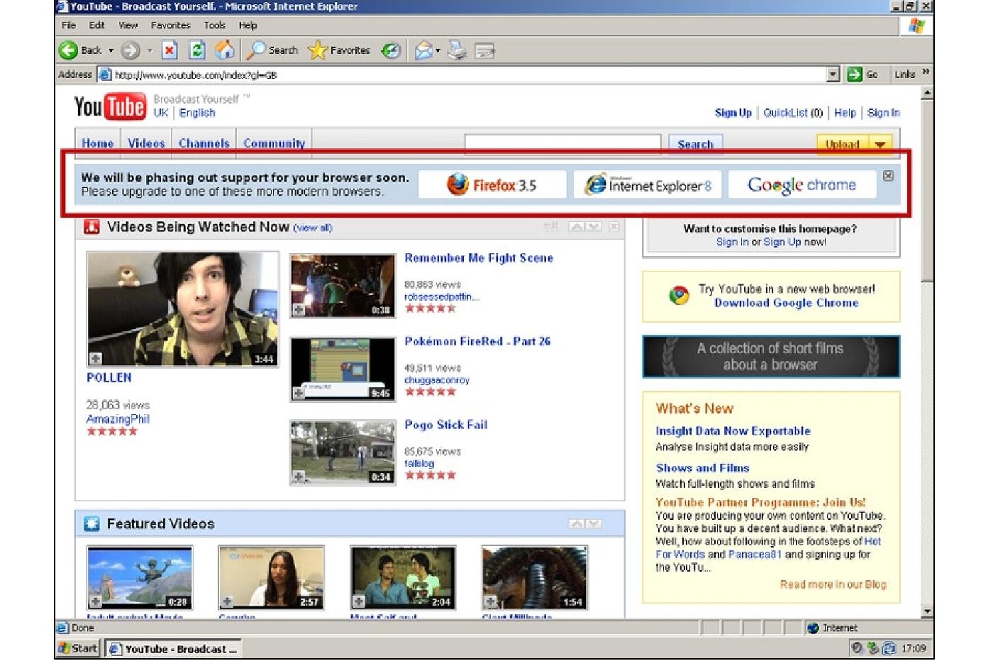 L'ancien YouTube avec une bannière IE6