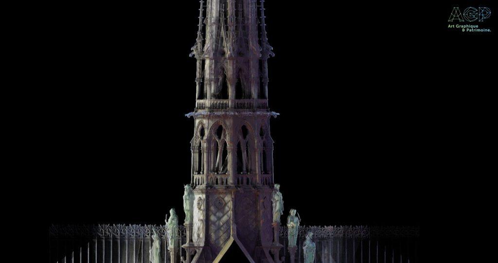 Modélisation de la flèche de Notre Dame de Paris.
