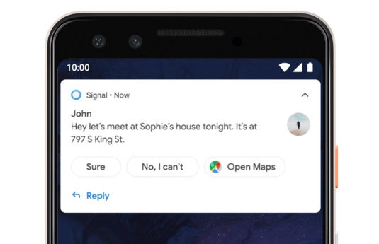 Smart Reply sur Android Q