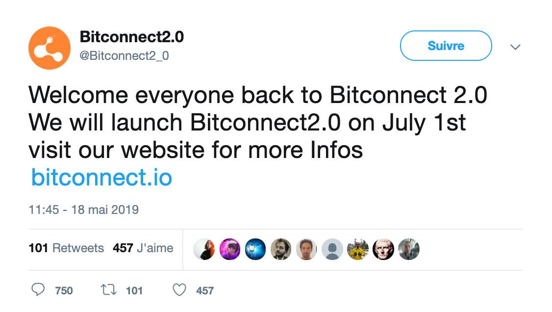 Le compte Twitter de BitConnect