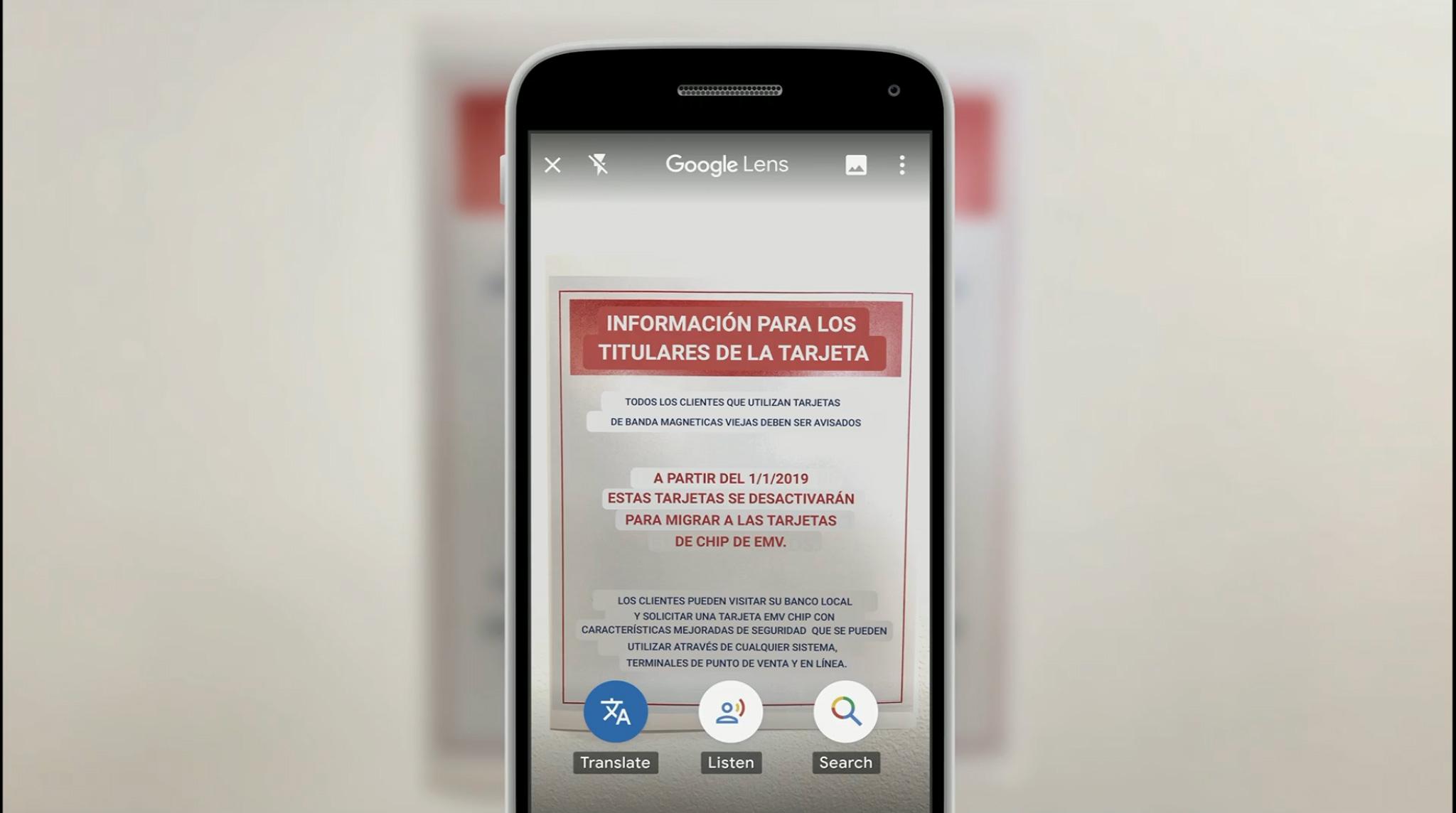 Google I/O lens traduction