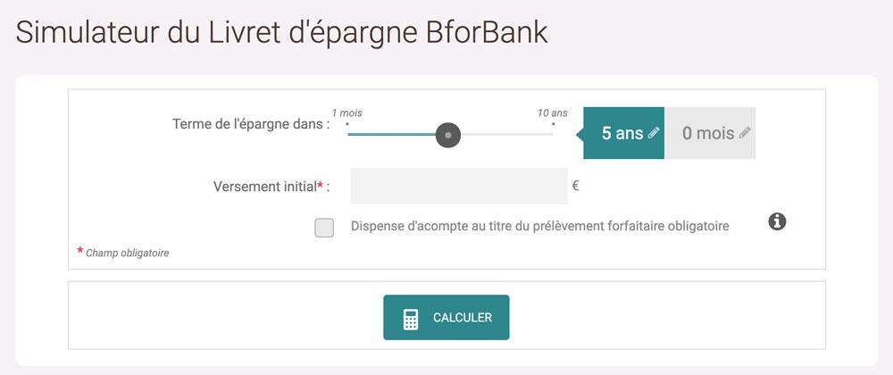 Simulateur livret épargne BforBank