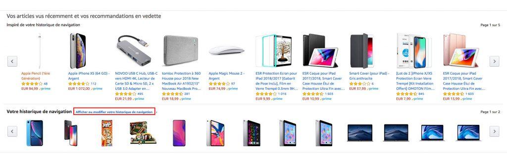 Amazon supprimer historique afficher option