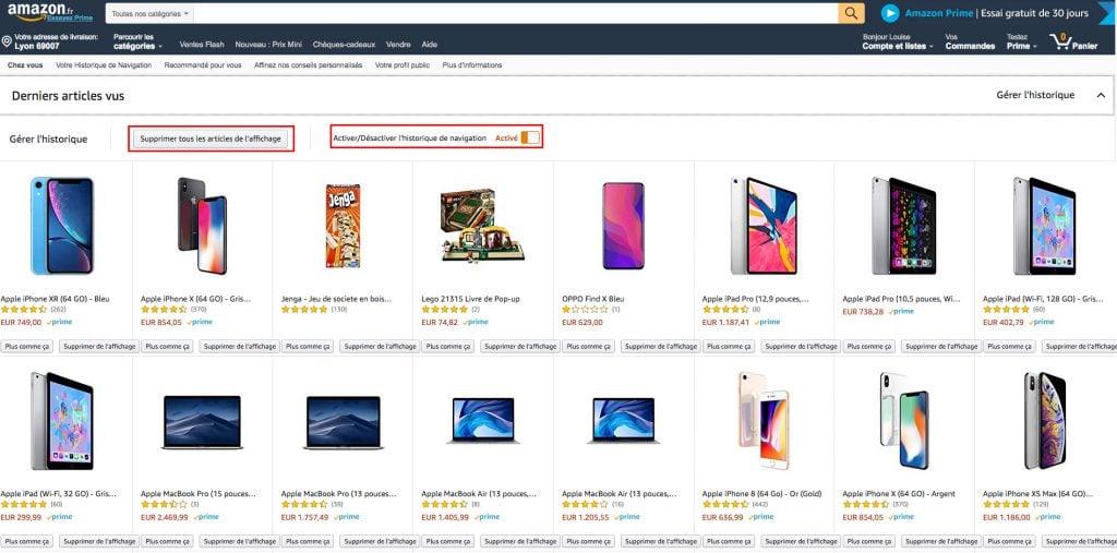 Amazon supprimer historique totalité