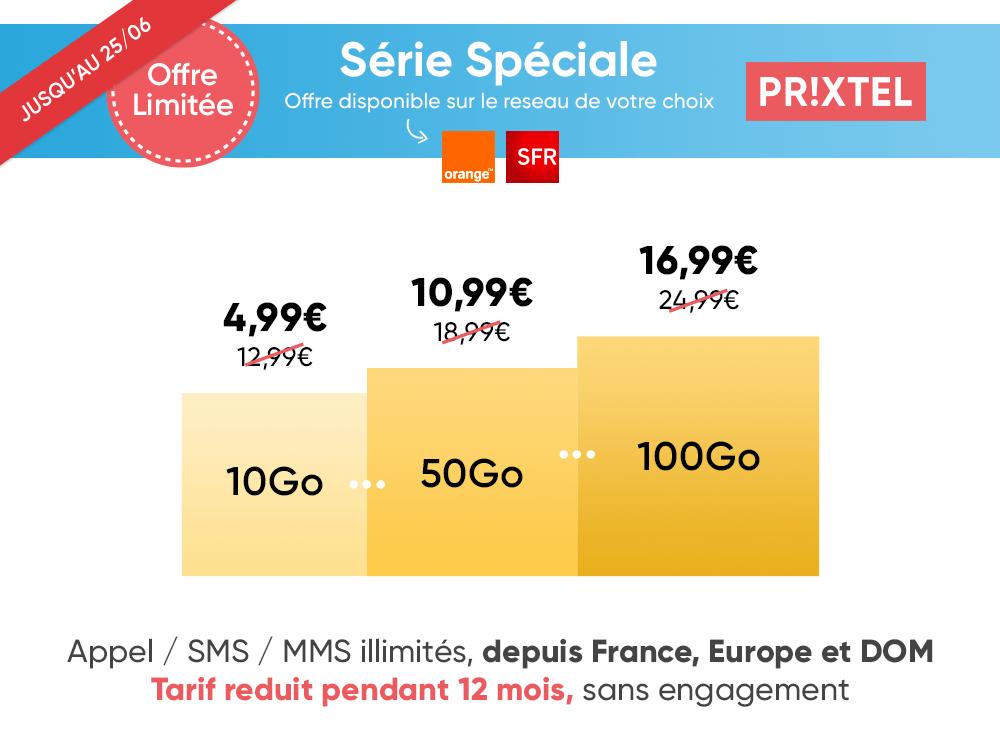 Prolongation promo Prixtel Forfait Mobile 25 juin palier de data