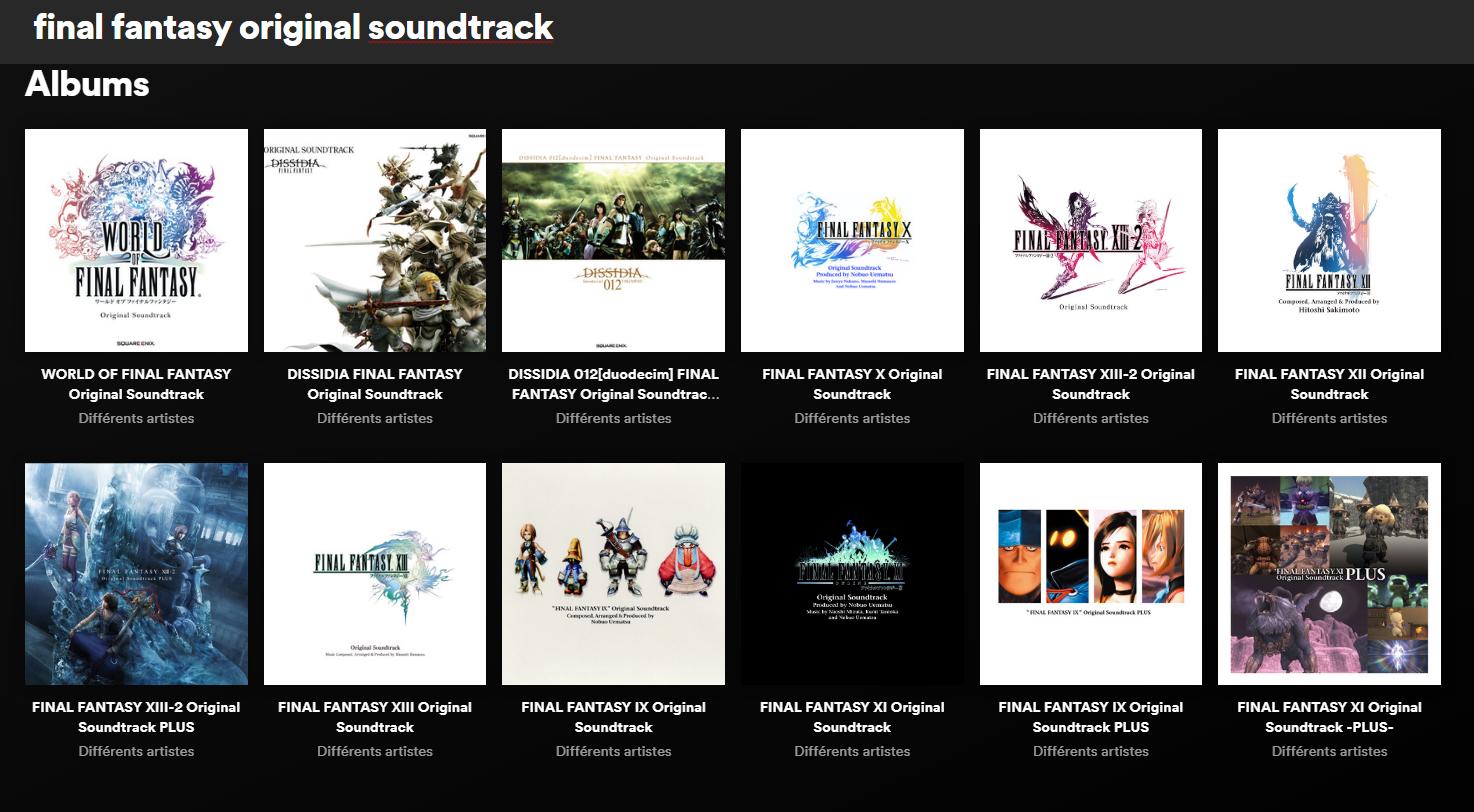 Final Fantasy : toutes les musiques des jeux principaux sur Spotify