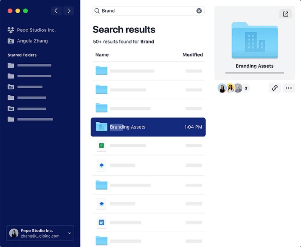 recherche centralisée sur Dropbox