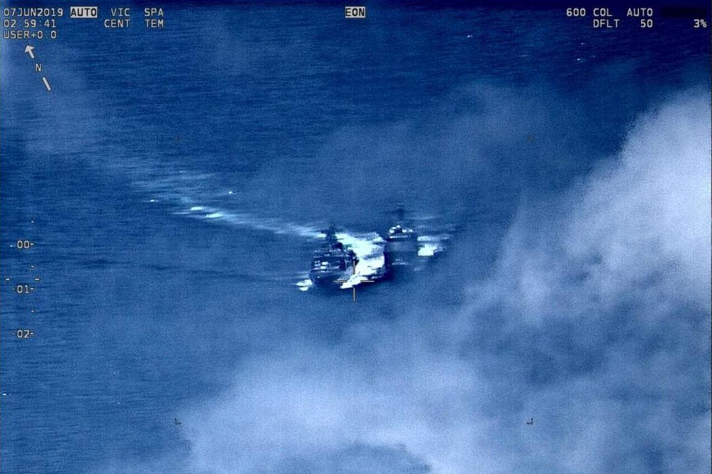 Collision navires américains et russes