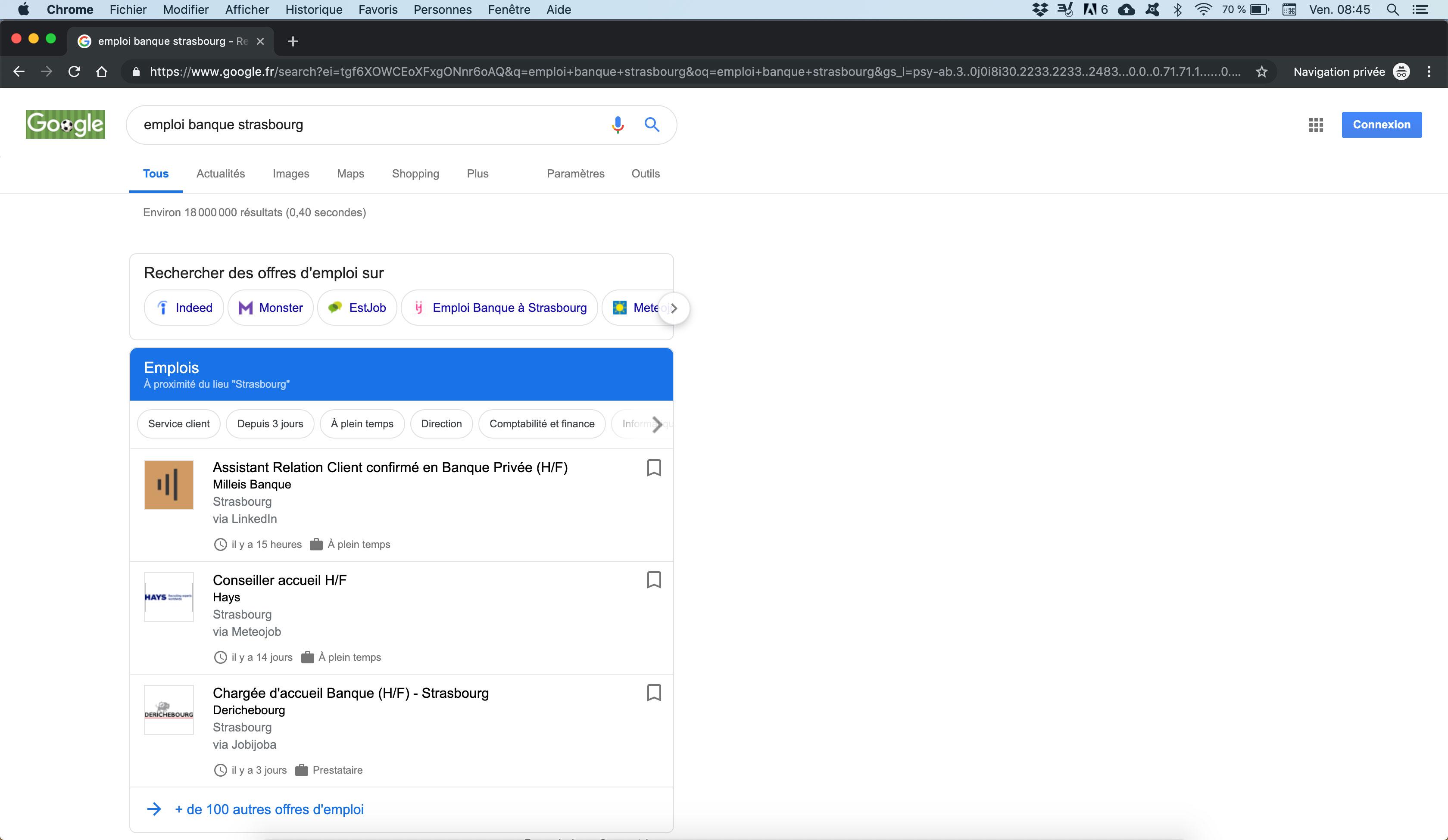 Recherche emploi sur Google