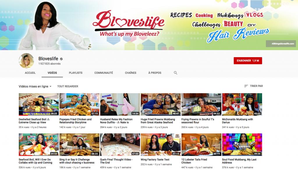 YouTube chaîne Bloveslife